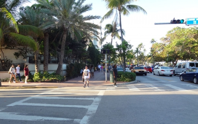 Walking on Ocean Drive, Miami Beach, Florida USA, 2016