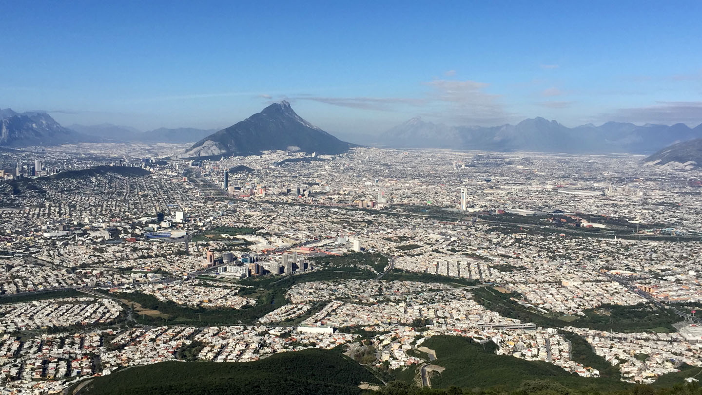 View from Cerro de la Silla Mountain, Monterrey Mexico